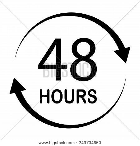 48 Hours On White Background. Flat Style. Map Sign. 48 Hours For Your Web Site Design, Logo, App, Ui