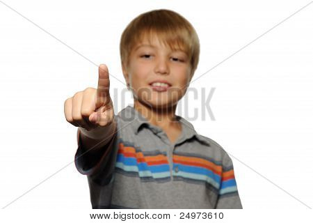 Boy Pointing at Viewer