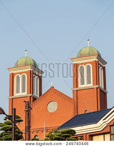 Nagasaki, Japan - 14jul2018:  Close Up Of Urakami Cathedral In Nagasaki, Japan.