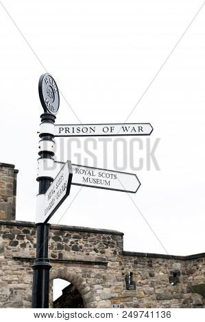 Edinburgh, Scotland - April 2018: Direction Signpost Inside Edinburgh Castle, Popular Tourist Attrac