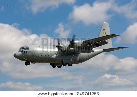 Raf Fairford, Gloucestershire, Uk - July 14, 2014: Swedish Air Force (flygvapnet) Lockheed C-130h He