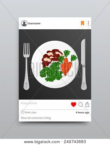 Plate Fork And Knife Instagram, Post With Photo And Tag, Dish With Vegetables, Healthy Food On Insta