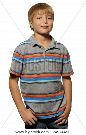 Cute Young Boy Isolated on White