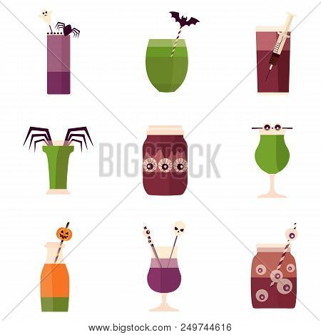 Spooky Halloween Party Cocktail Drinks And Shots Menu. Creepy Alcoholic And Nonalcoholic Beverages D