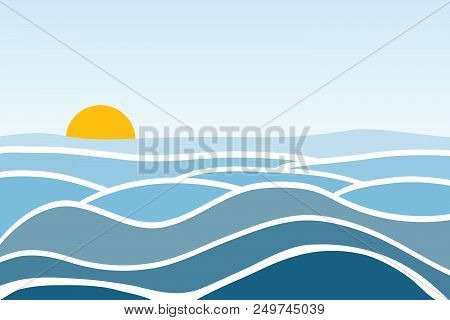 Sea Waves. Sunrise Against The Background Of The Sea And Waves. Flat Design, Vector Illustration, Ve