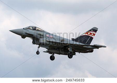 Raf Fairford, Gloucestershire, Uk - July 10, 2014: Royal Air Force (raf) Eurofighter Ef-2000 Typhoon