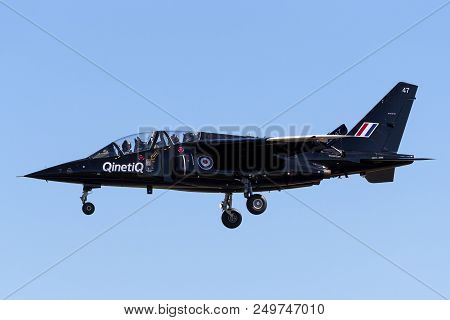 Raf Fairford, Gloucestershire, Uk - July 10, 2014: Royal Air Force Dassault-dornier Alpha Jet A Zj64