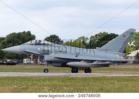 Raf Fairford, Gloucestershire, Uk - July 14, 2014: German Air Force (luftwaffe) Eurofighter Ef-2000