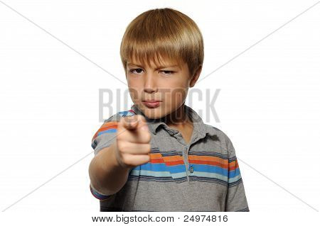 Boy Pointing Finger at Viewer