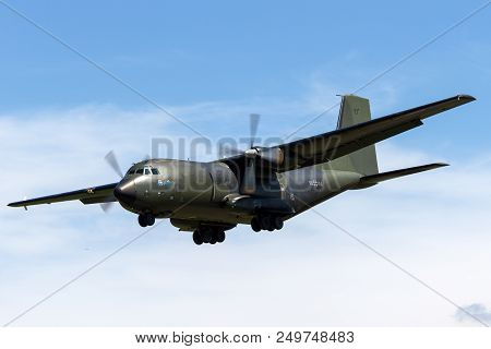 Raf Fairford, Gloucestershire, Uk - July 10, 2014: German Air Force (luftwaffe) Transall C-160d Twin
