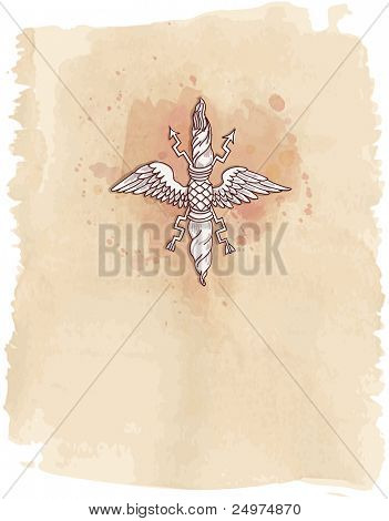 Vintage emblem - hand draw sketch, element doric architectural order & watercolor background. Bitmap copy my vector id 87989059