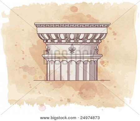 Chapiter- hand draw sketch doric architectural order & vintage watercolor background. Bitmap copy my vector id 87989044