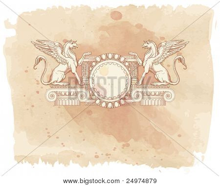 Vintage frame & Griffins, seated on an Ionic column - hand draw sketch & watercolor background. Bitmap copy my vector id 87989035