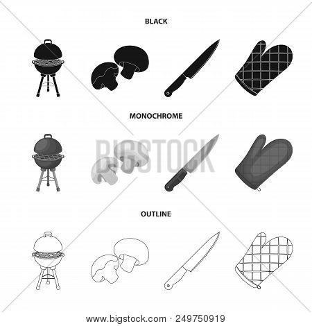 Barbeque Grill, Champignons, Knife, Barbecue Mitten.bbq Set Collection Icons In Black, Monochrome, O