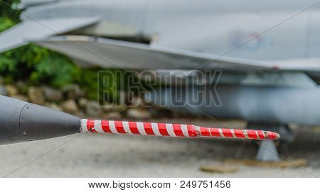 Closeup Of Red And White Pitot-tube On Front Of Jet Aircraft Used For Air Intake To Assist In Determ
