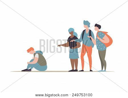 Vector Illustration Group Students Or School People Bullying And Suppress The Guy Sitting On The Flo