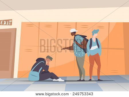 Vector Illustration Couple Students Bullying And Suppress The Guy Sitting On The Floor. Concept Disc
