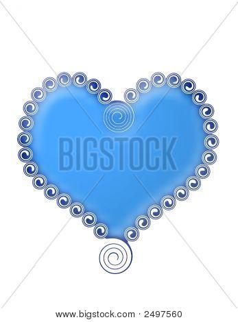 Blue Heart Wirh Swirls