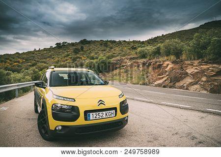 Catalonia, Spain - May 14, 2018: Citroen C4 Cactus Car Parked On Background Of Spanish Mountain Natu