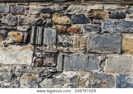 Close Up Details Pattern Of Background Texture Of Stone Brick Wall On Ancient Fortress Building From
