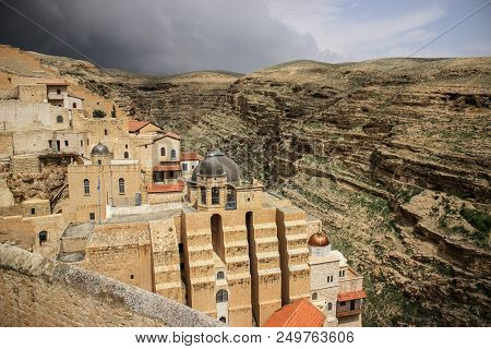 The Ancient Monastery Of St. George In The Occupied Palestinian Territory West-bank, Middle East, Wi