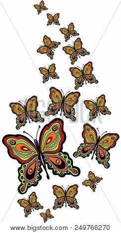 Scalable Vectorial Representing A Border Of Butterflies, Element For Design, Illustration Isolated O