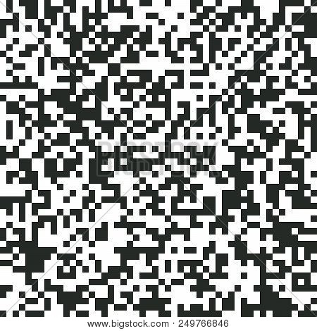 Digital Abstract Black And White Pixel Noise Background, Qr Code Abstract Background, Vector Seamles