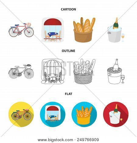 Bicycle, Transport, Vehicle, Cafe .france Country Set Collection Icons In Cartoon, Outline, Flat Sty