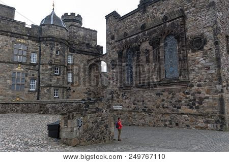 Edinburgh, Scotland - April 2018: Exterior Of The Royal Palace Building At Crown Square Inside Edinb