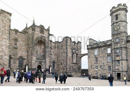 Edinburgh, Scotland - April 2018: The Crown Square Comprised Of Scottish National War Memorial, Roya