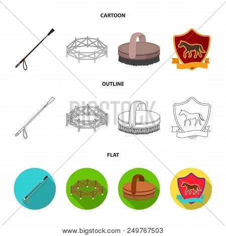 Aviary, whip, emblem, hippodrome .Hippodrome and horse set collection icons in cartoon, outline, flat style vector symbol stock illustration . poster