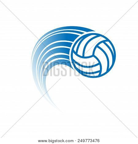 Volleyball Silhouette With Moving Track Silhouette Isolated On White Background