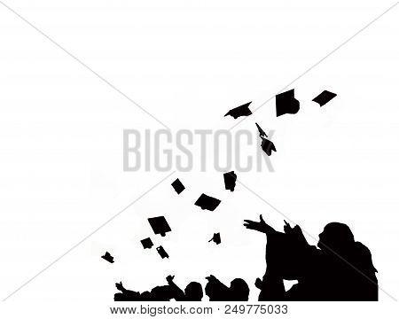 Silhouette Of Graduate Students Throw Mortarboards In University Graduation Success Ceremony. Congra