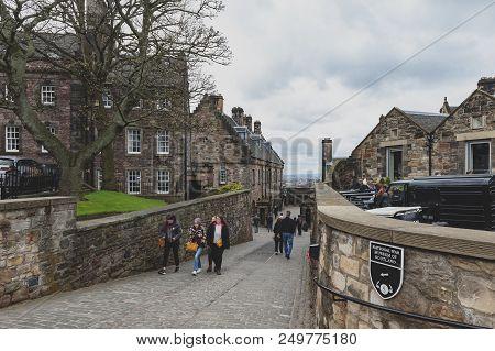 Edinburgh, Scotland - April 2018: Walkway Inside The Complex Area Of Edinburgh Castle, Popular Touri