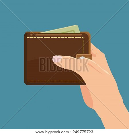 Concept With Hand And Wallet Full Of Money. Online Shopping. Pay Per Click. Money Making. Isolated.