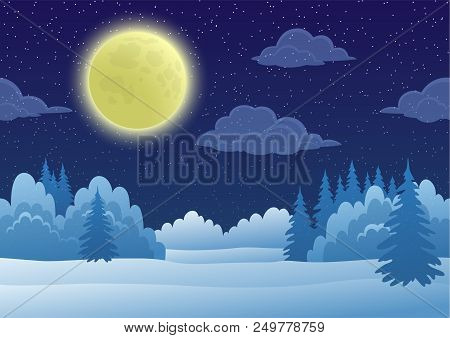 Cartoon Background, Night Landscape With Snow Winter Forest, Starry Sky, White Clouds And Big Bright