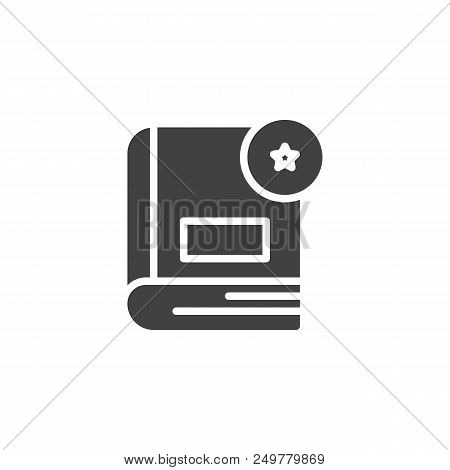 Book Rating Vector Icon. Filled Flat Sign For Mobile Concept And Web Design. Book With Star Rate Sim