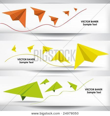Set of the 600x160 paper plane banners.