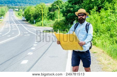 Orient Map Look In Certain Direction See Landmark Find. Expeditor Backpacker Map Look Orienteering D