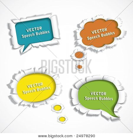vector paper speech bubbles poster