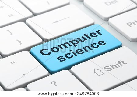 Science Concept: Computer Keyboard With Word Computer Science, Selected Focus On Enter Button Backgr