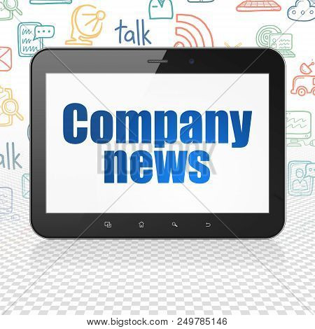 News Concept: Tablet Computer With  Blue Text Company News On Display,  Hand Drawn News Icons Backgr