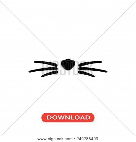Cat Whiskers Vector Icon Flat Style Illustration For Web, Mobile, Logo, Application And Graphic Desi