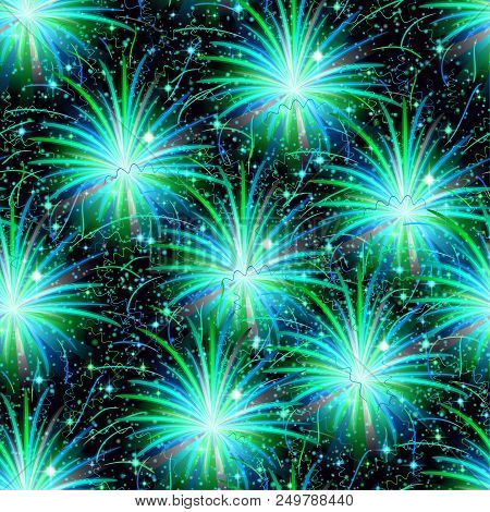 Firework Seamless Background Of Various Colors. Tile Pattern For Holiday Design. Eps10, Contains Tra