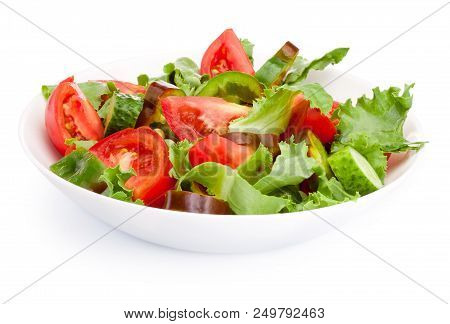 Fresh Vegetable Salad In A Plate Isolated On White Background