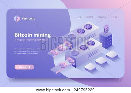Cryptocurrency Mining Farm. Cryptocurrency And Blockchain Technology, Bitcoin Creation. 3d Isometric