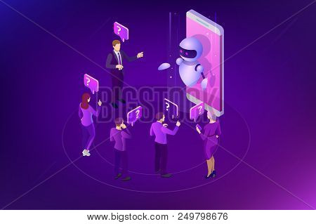 Isometric Artificial Intelligence. Chat Bot And Future Marketing. Ai And Business Iot Concept. Mans