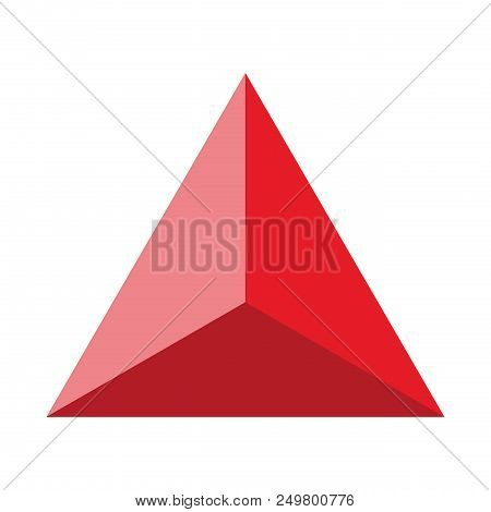 Colorful Geometrical Figure Vector Illustration On Red Tones: Pyramid