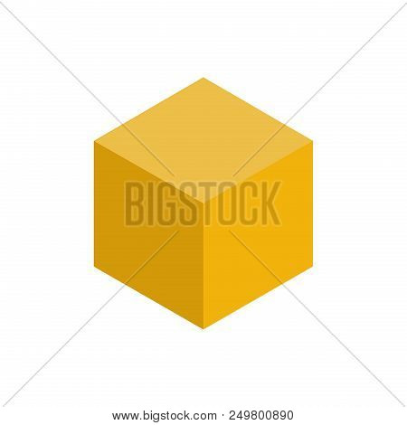 Colorful Geometrical Figure Vector Illustration On Yellow Tones: Cube