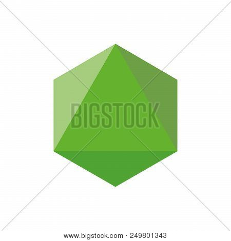 Colorful Geometrical Figure Vector Illustration On Green Tones: Octahedron